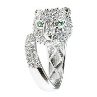 Michael Valitutti Sterling Silver Cubic Zirconia 'Panther' Ring