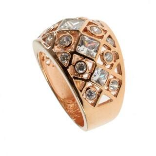 Michael Valitutti Rose Gold over Silver Cubic Zirconia 'Lattice' Ring