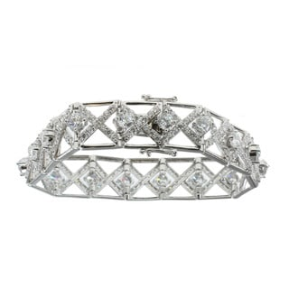 Michael Valitutti Sterling Silver Cubic Zirconia 'Lattice' Bracelet