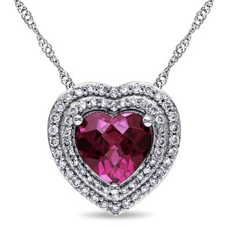 Miadora Signature Collection 14k White Gold Rhodolite 1/4ct TDW Diamond Double Halo Heart Necklace (G-H, SI1-SI2)