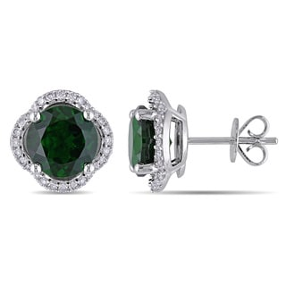 Miadora Signature Collection 14k White Gold Chrome Diopside 1/3ct TDW Diamond Flower Stud Earrings (G-H, SI1-SI2)
