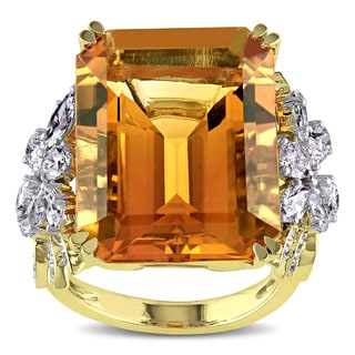 Miadora Signature Collection 14k Two-tone Gold Citrine and 1 3/4ct TDW Diamond Cocktail Ring (G-H, SI1-SI2)