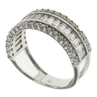 Michael Valitutti 10k White Gold Cubic Zirconia Ring
