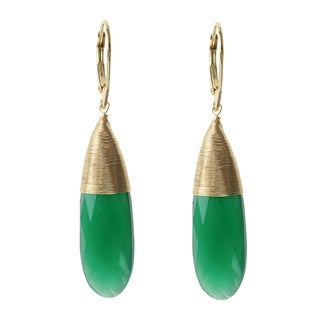 Michael Valitutti Gold Over Silver Green Onyx Earrings