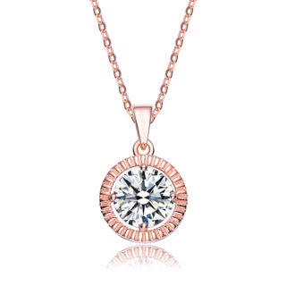 Collette Z Rose Goldplated Sterling Silver Cubic Zirconia Round Necklace