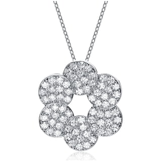 Collette Z Rose Plated Sterling Silver White Cubic Zirconia Flower Shape Necklace