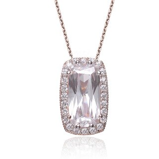 Collette Z Rose Goldplated Sterling Silver Cubic Zirconia Emerald Shape Necklace