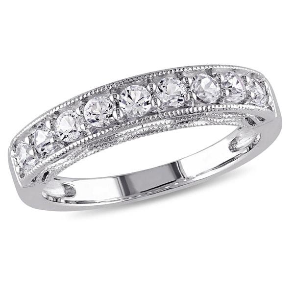 22ca82902b209 Shop Miadora Sterling Silver Created White Sapphire Stackable ...