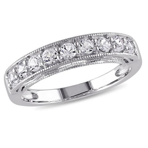 Miadora Sterling Silver Created White Sapphire Stackable Anniversary Band Ring