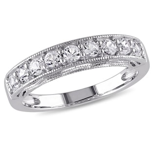 Miadora Sterling Silver Created White Sapphire Stackable Anniversary Ring