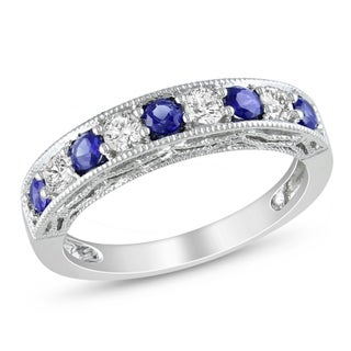 Miadora Sterling Silver Created Blue and White Sapphire Stackable Anniversary Ring (More options available)