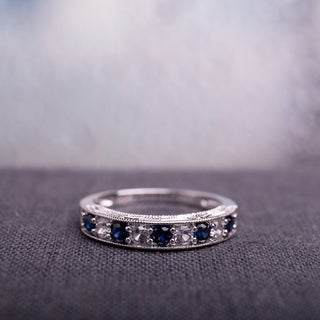 Miadora Sterling Silver Created Blue and White Sapphire Stackable Anniversary Ring
