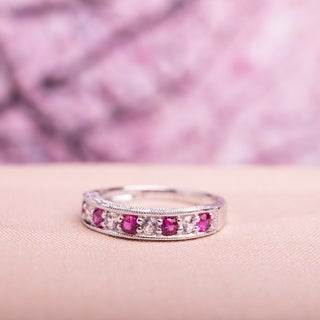 Miadora Sterling Silver Created Ruby and White Sapphire Ring