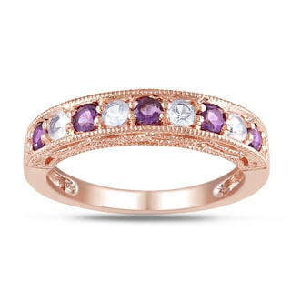 Miadora Rose Goldplated Silver Amethyst Created White Sapphire Ring