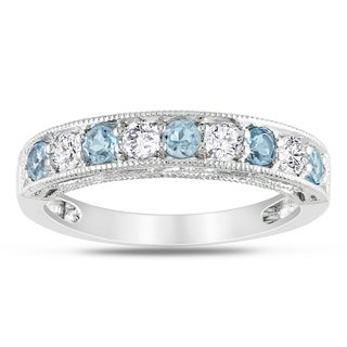 Miadora Sterling Silver Blue Topaz and Created White Sapphire Stackable Anniversary Ring