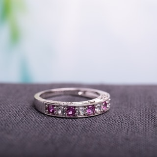 Miadora Sterling Silver Created Pink and White Sapphire Ring