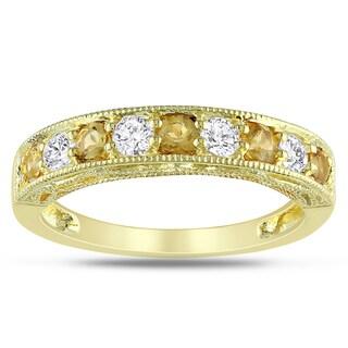 Miadora Yellow Plated Silver Citrine Created White Sapphire Ring