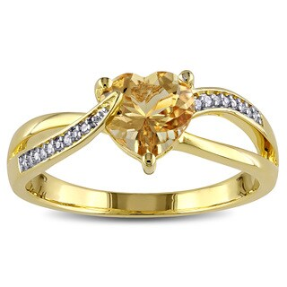 Miadora Yellow Goldplated Silver Beryl Diamond Accent Heart Ring