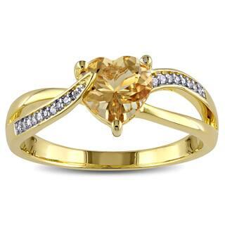 Miadora Yellow Goldplated Silver Beryl Diamond Accent Heart Ring|https://ak1.ostkcdn.com/images/products/9664702/P16846217.jpg?impolicy=medium