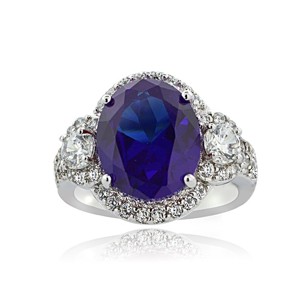 ICZ Stonez Sterling Silver 10ct TGW Multi-color Cubic Zirconia Ring
