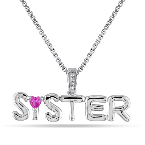 Miadora Sterling Silver Created Pink Sapphire Diamond Accent 'Sister' Necklace