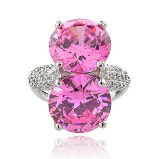ICZ Stonez Sterling Silver 23 7/8ct TGW Multi-color Cubic Zirconia Ring