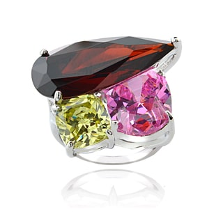 ICZ Stonez Sterling Silver 15 2/5ct TGW Multi-color Cubic Zirconia Ring