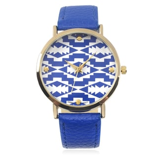Journee Collection Aztec Print Round Face Quartz Watch
