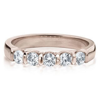 Amore 14k or 18k Rose Gold 1/2ct TDW 5-Stone Bar Set Diamond Wedding Anniversary Band (G-H, SI1-SI2)