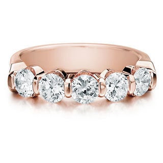 Amore 14k or 18k Rose Gold 1 1/2ct TDW 5-stone Bar Set Diamond Wedding Anniversary Band (G-H, SI1-SI2)