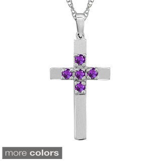 10k Gold Designer Five-stone Birthstone Cross Necklace