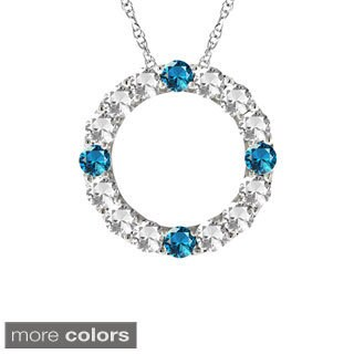 10k Gold Designer Four-stone Birthstone Circle Necklace