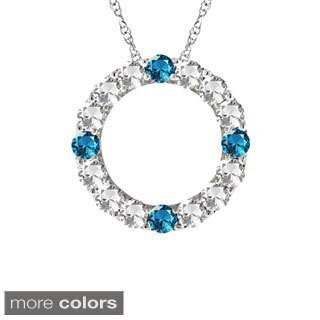 10k Gold Designer Four-stone Birthstone Circle Necklace