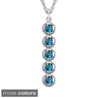 10k Gold Designer Stacked Round Birthstone Necklace