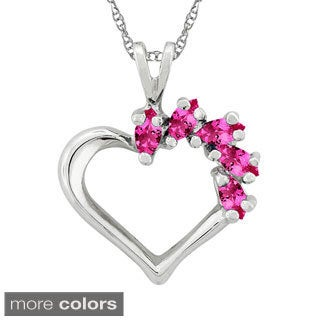 10k Gold Designer 5-stone Heart Birthstone Pendant Necklace