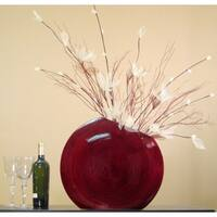Fire & Ice in Red Bamboo 18-inch Circle Vase