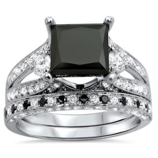 Noori 18k White Gold 4 1/10ct UGL-certified Black Princess-cut Diamond Engagement Bridal Ring Set