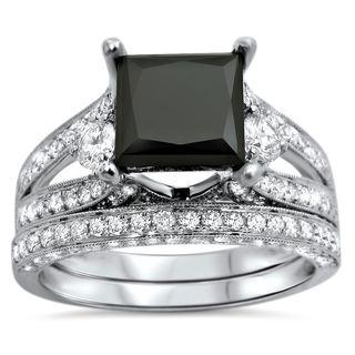 Noori 18k White Gold 4ct UGL-certified Black Princess-cut Diamond Engagement Bridal Ring Set