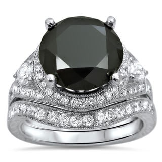 Link to 14k White Gold 5ct UGL-certified Black and White Round-cut Diamond Bridal Ring Set Similar Items in Wedding Rings