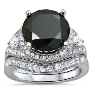 Noori 14k White Gold 5ct UGL-certified Black and White Round-cut Diamond Bridal Ring Set