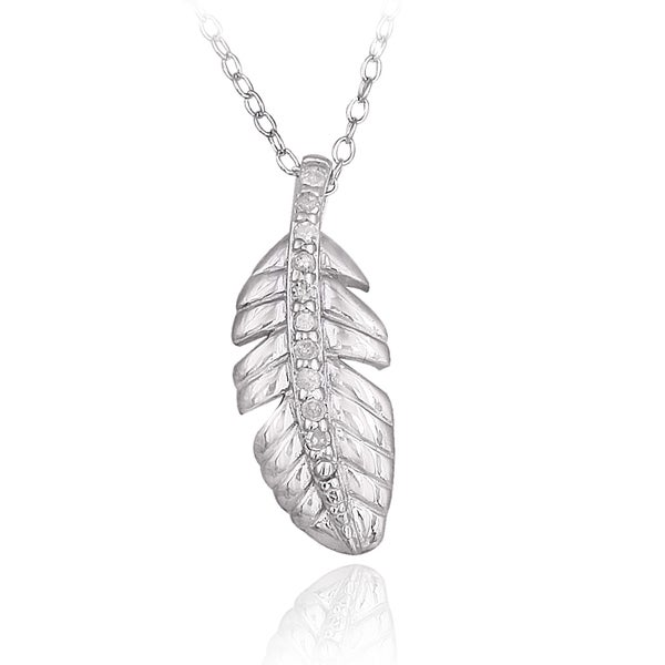 DB Designs Sterling Silver 1/10ct TDW Diamond Leaf Necklace