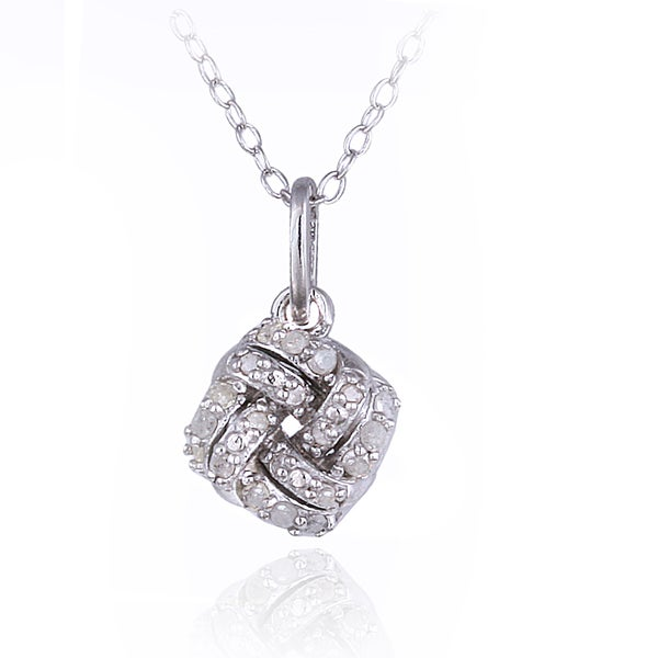 DB Designs Sterling Silver 1/6ct TDW Diamond Love Knot Necklace