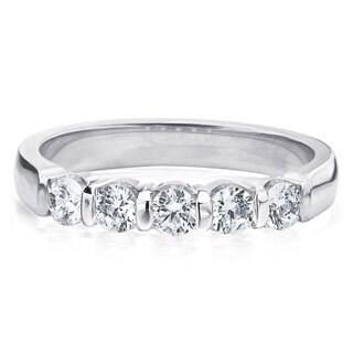 Amore Platinum 1/2ct TDW 5-Stone Bar Set Diamond Wedding Anniversary Band (G-H, SI1-SI2)