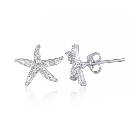 DB Designs Sterling Silver 1/8ct TDW Diamond Starfish Stud Earrings