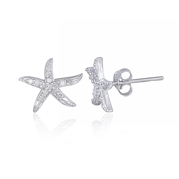 Db Designs Sterling Silver 1 8ct Tdw Diamond Starfish Stud Earrings