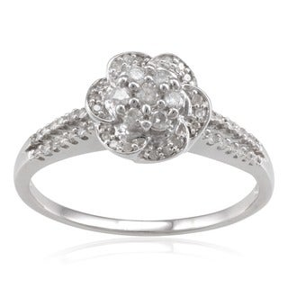 Sterling Silver 1/3ct TDW Diamond Flower Ring (H-I, I2-I3)