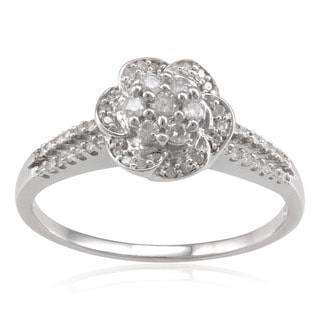 Sterling Silver 1/3ct TDW Diamond Flower Ring (H-I, I2-I3)