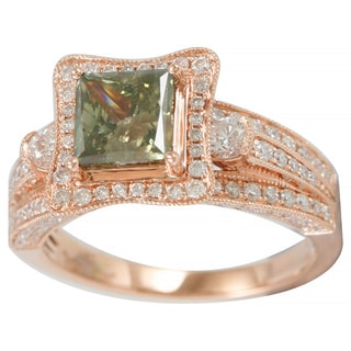 Suzy Levian 18k Rose Gold 2 4/5ct TDW Green and White Diamond Ring