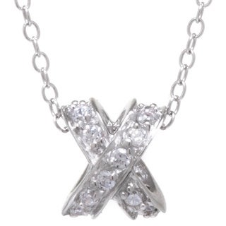 Sterling Silver Cubic Zirconia Criss-cross 'X' Pendant 18-inch Chain Necklace