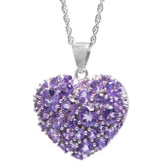 Sterling Silver Purple Amethyst Puffed Heart Pendant with Rope Chain Necklace